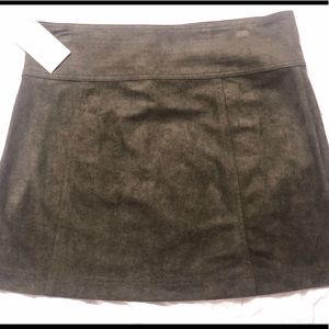 Dresses & Skirts - Faux suede Olive green mini skirt - L